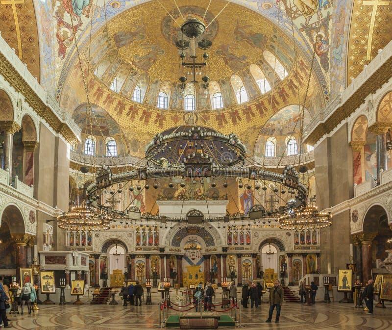 εσωτερικός Ο καθεδρικός ναός του Nicholas θάλασσας, δένει το τετράγωνο Kronstadt, Αγία Πετρούπολη, Ρωσία 25 Σεπτεμβρίου 2017 στοκ φωτογραφίες
