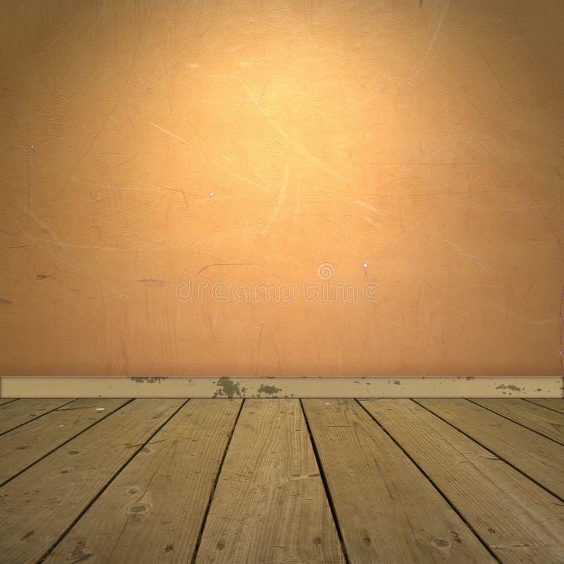 εσωτερικός πορτοκαλής τοίχος πατωμάτων ξύλινος στοκ εικόνες