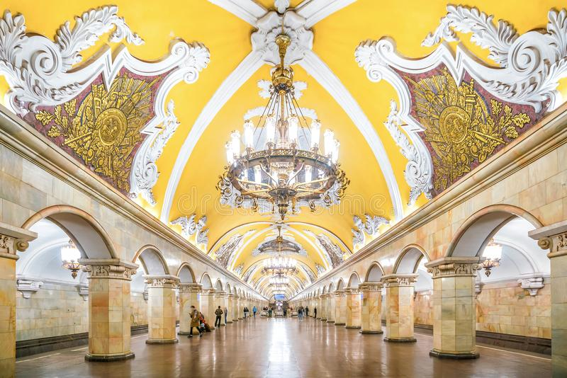 εσωτερικός σταθμός της Μόσχας μετρό στοκ φωτογραφία με δικαίωμα ελεύθερης χρήσης
