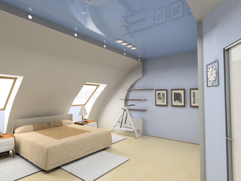 εσωτερικός σύγχρονος κρεβατοκάμαρων διανυσματική απεικόνιση