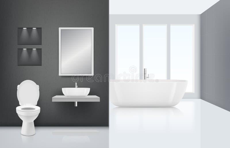 εσωτερικός σύγχρονος λ& Καμπίνα πλύσης νεροχυτών τουαλετών στο φρέσκο και άσπρο μοντέρνο εσωτερικό πολυτέλειας λουτρών Διάνυσμα ρ διανυσματική απεικόνιση