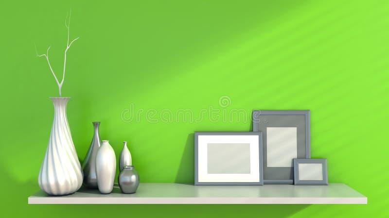 Εσωτερικός τοίχος και κεραμικός στο ράφι που διακοσμείται, κενά πλαίσια απεικόνιση αποθεμάτων