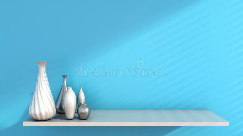 Εσωτερικός τοίχος και κεραμικός στο ράφι που διακοσμείται, τρισδιάστατη απόδοση ελεύθερη απεικόνιση δικαιώματος
