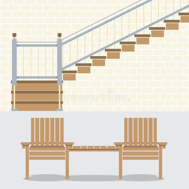 Εσωτερικός τοίχος τούβλων με τα σκαλοπάτια και τις ξύλινες έδρες διανυσματική απεικόνιση
