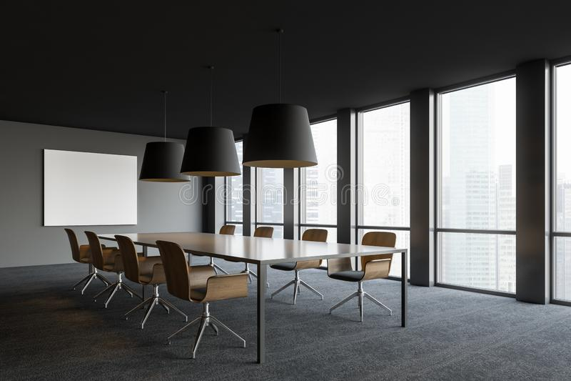 Εσωτερικό αίθουσας συνδιαλέξεων με την άποψη παραθύρων και πόλεων ελεύθερη απεικόνιση δικαιώματος