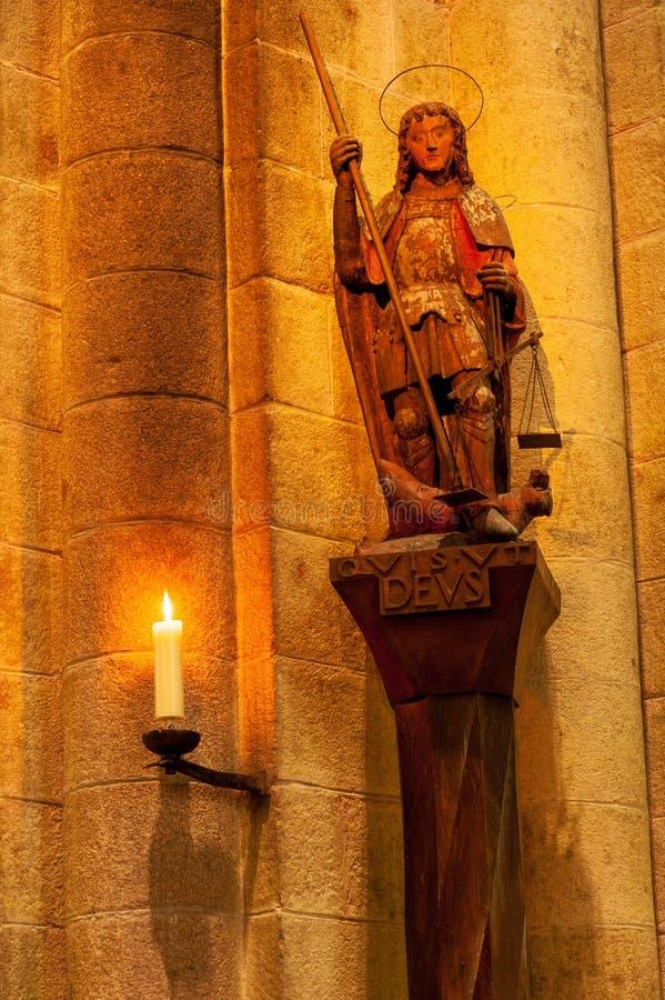 Εσωτερικό αβαείο Mont Saint-Michel στοκ φωτογραφίες