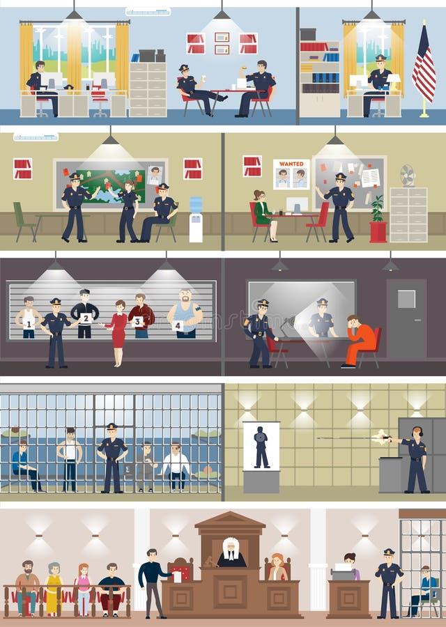 Εσωτερικό αστυνομικών τμημάτων που τίθεται με τα δωμάτια διανυσματική απεικόνιση