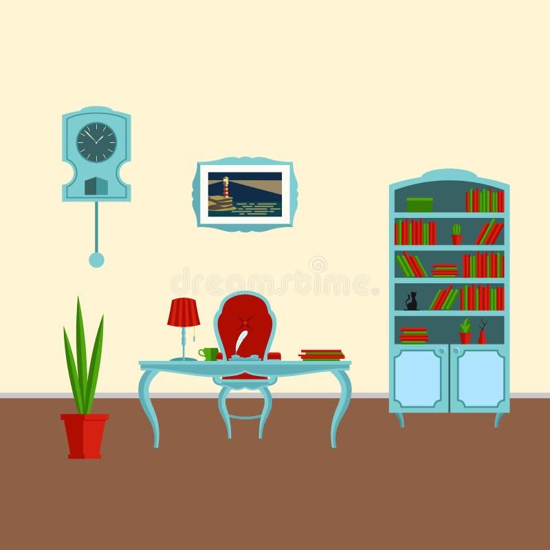 Εσωτερικό γραφείο σε ένα κλασικό πλήρες σύνολο ύφους Α επίπλων και διακοσμήσεων για τη διανυσματική επίπεδη απεικόνιση γραφείων ελεύθερη απεικόνιση δικαιώματος