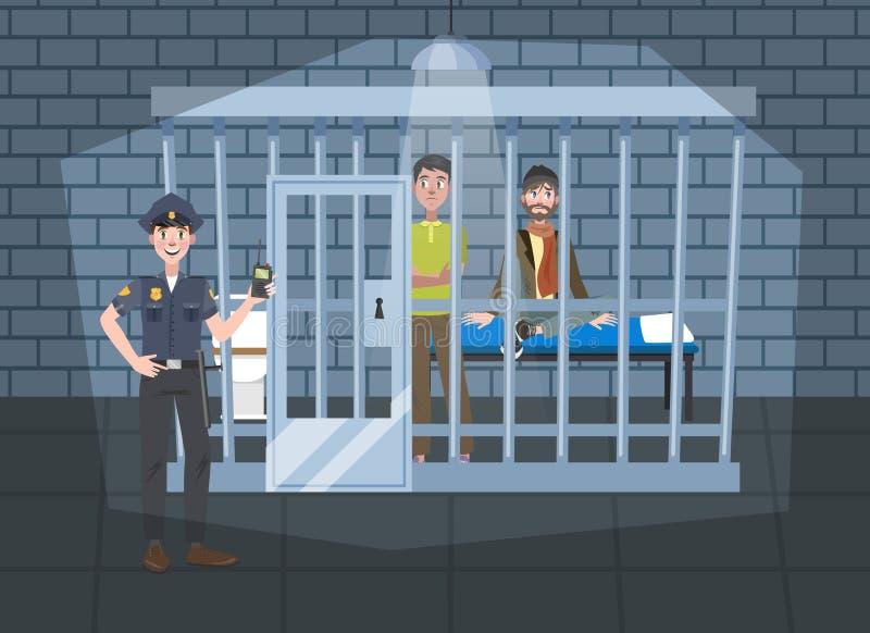 Εσωτερικό γραφείων αστυνομικών τμημάτων Αστυνομικός σε ομοιόμορφο απεικόνιση αποθεμάτων