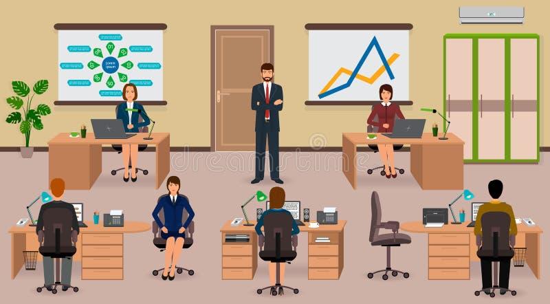 Εσωτερικό γραφείων με τον υπάλληλο και τον προϊστάμενο Επιχειρησιακή κατάσταση ομαδικής εργασίας ελεύθερη απεικόνιση δικαιώματος