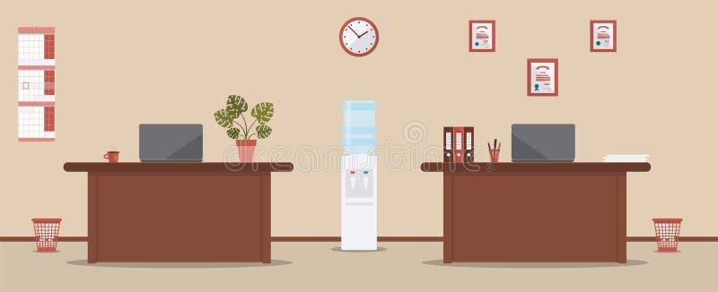 Εσωτερικό γραφείων σε ένα υπόβαθρο κρέμας Πίνακες, φάκελλοι, ημερολόγιο τοίχων, lap-top, ρολόι, φλιτζάνι του καφέ ή τσάι, δοχείο  απεικόνιση αποθεμάτων