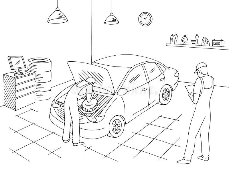 Εσωτερικό γραφικό μαύρο άσπρο διάνυσμα απεικόνισης σκίτσων υπηρεσιών αυτοκινήτων Οι εργαζόμενοι επισκευάζουν ένα όχημα διανυσματική απεικόνιση