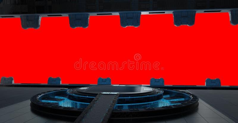 Εσωτερικό διαστημοπλοίων λουρίδων Llanding που απομονώνεται στο κόκκινο υπόβαθρο τρισδιάστατο διανυσματική απεικόνιση