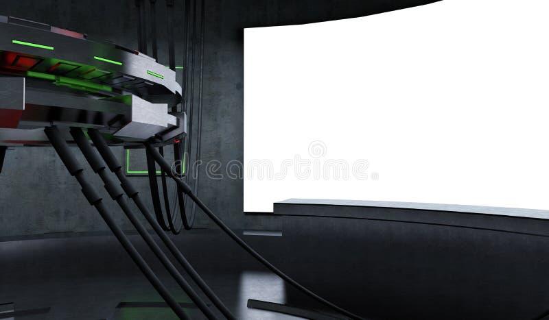 Εσωτερικό διαστημοπλοίων φουτουριστικού και σχεδίου του Sci Fi στοκ εικόνα