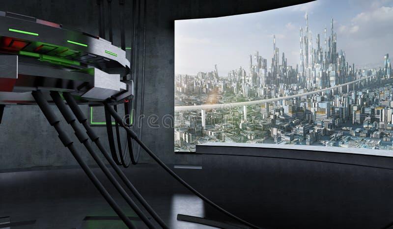 Εσωτερικό διαστημοπλοίων φουτουριστικού και σχεδίου του Sci Fi στοκ φωτογραφία