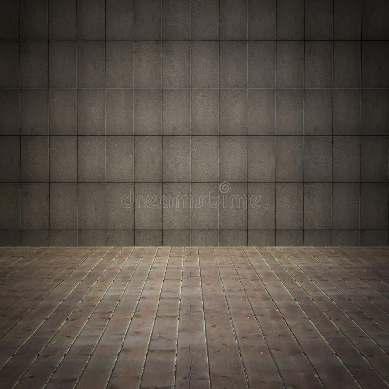 Εσωτερικό δωμάτιο με τον τοίχο grunge και το παλαιό ξύλινο πάτωμα διανυσματική απεικόνιση