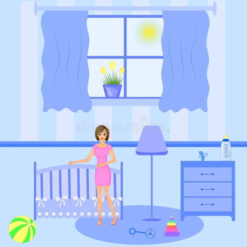 Εσωτερικό δωματίων μωρών Επίπεδο σχέδιο Νεογέννητο δωμάτιο μωρών με το παράθυρο, παιχνίδια, κούνια, πίνακας dedside απεικόνιση αποθεμάτων