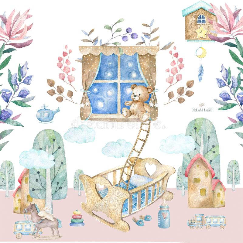 Εσωτερικό δωματίων μωρών Καθορισμένο δωμάτιο μωρών απεικόνισης Watercolor με ένα παράθυρο, ράφι, παιχνίδια, κούνια, λίκνο πλευρών ελεύθερη απεικόνιση δικαιώματος