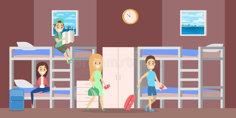 Εσωτερικό δωματίων ξενώνων με τους ανθρώπους μέσα στην απεικόνιση διανυσματική απεικόνιση