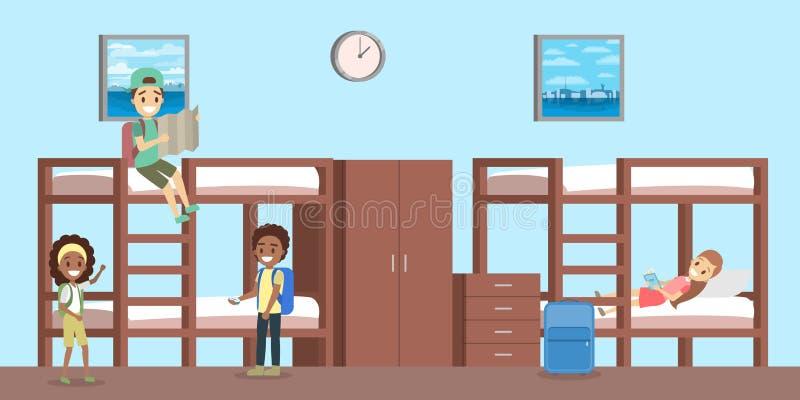 Εσωτερικό δωματίων ξενώνων με τους ανθρώπους μέσα στην απεικόνιση απεικόνιση αποθεμάτων