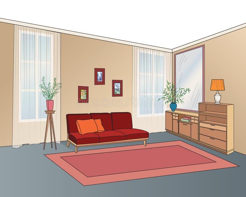 Εσωτερικό δωματίων Lliving με τα έπιπλα: καναπές, να τοποθετήσει σε ράφι, πίνακας διανυσματική απεικόνιση