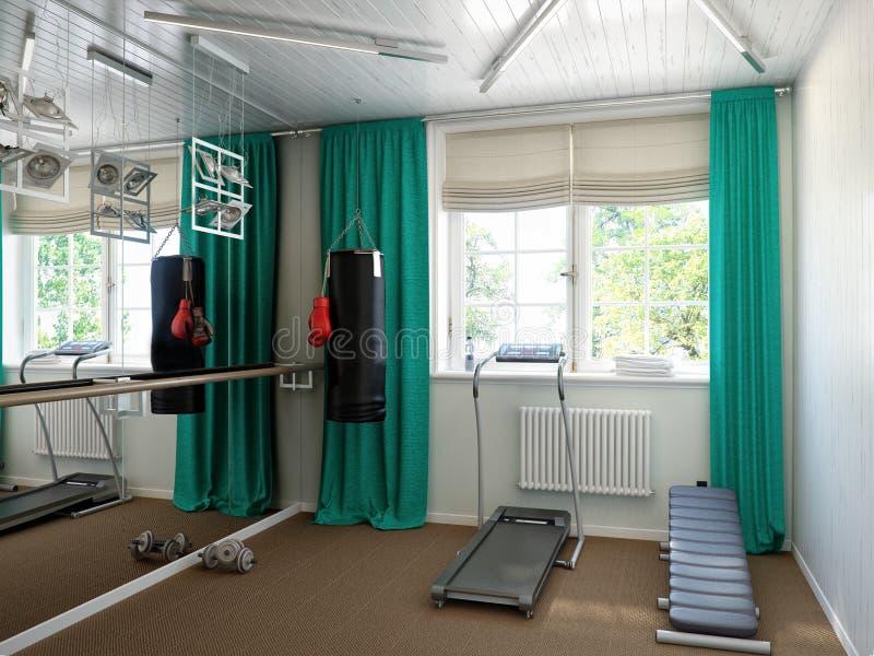 Εσωτερικό εγχώριας γυμναστικής με τον εξοπλισμό ικανότητας διανυσματική απεικόνιση