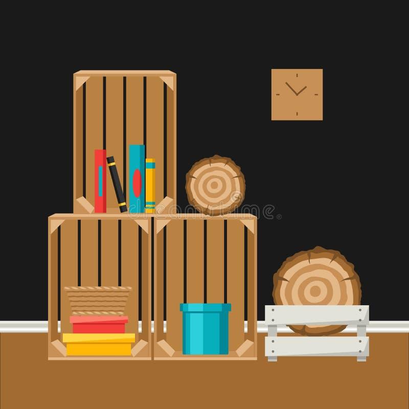 Εσωτερικό εγχώριο ντεκόρ κιβώτια ξύλινα διανυσματική απεικόνιση