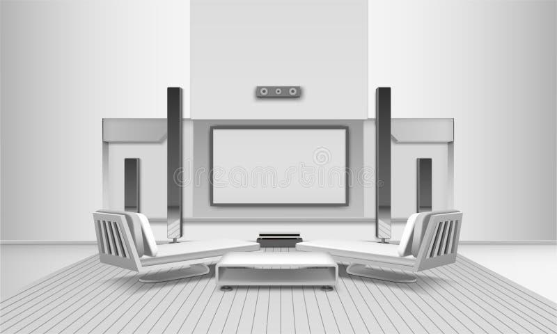 Εσωτερικό εγχώριων κινηματογράφων στους άσπρους τόνους ελεύθερη απεικόνιση δικαιώματος