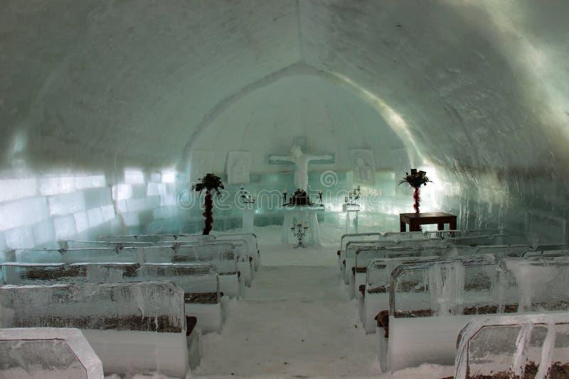 Εσωτερικό εκκλησιών πάγου στοκ εικόνες