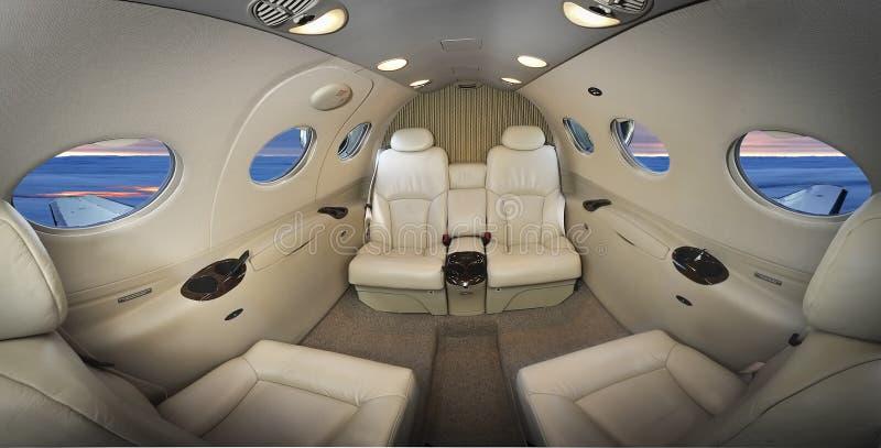 Εσωτερικό ενός εκτελεστικού αεροπλάνου στοκ εικόνες