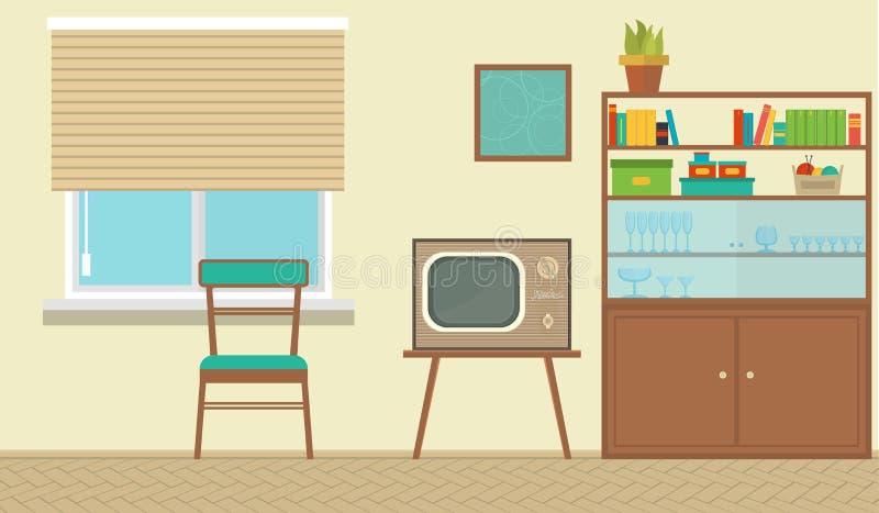 Εσωτερικό ενός καθιστικού με τα έπιπλα, εκλεκτής ποιότητας δωμάτιο, αναδρομικό σχέδιο Επίπεδη απεικόνιση ύφους απεικόνιση αποθεμάτων