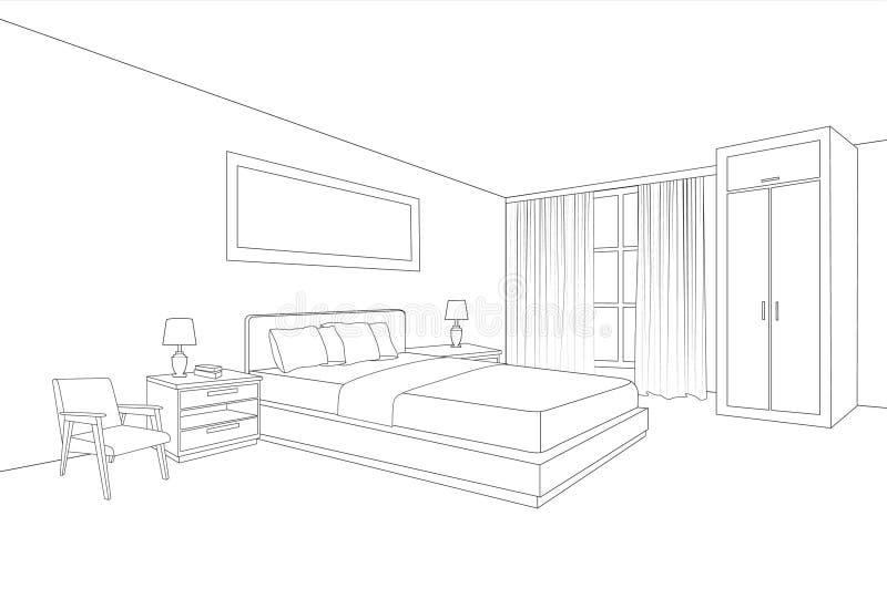Εσωτερικό επίπλων κρεβατοκάμαρων Σχέδιο σκίτσων γραμμών δωματίων ελεύθερη απεικόνιση δικαιώματος