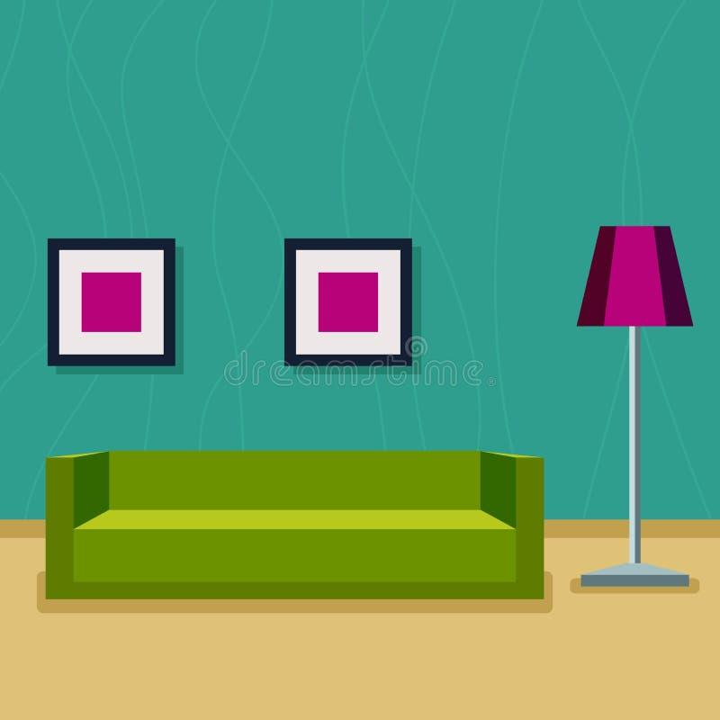 εσωτερικό καθιστικό Δωμάτιο με έναν καναπέ, τους λαμπτήρες και τα έργα ζωγραφικής διανυσματική απεικόνιση