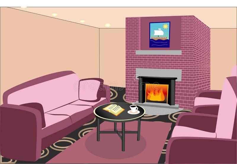 Εσωτερικό καθιστικό με την εστία στοκ εικόνες με δικαίωμα ελεύθερης χρήσης