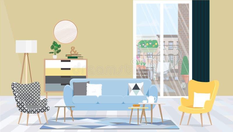 Εσωτερικό καθιστικό σχεδίου με τα έπιπλα, ένα μεγάλες παράθυρο και μια πρόσβαση στο μπαλκόνι r διανυσματική απεικόνιση