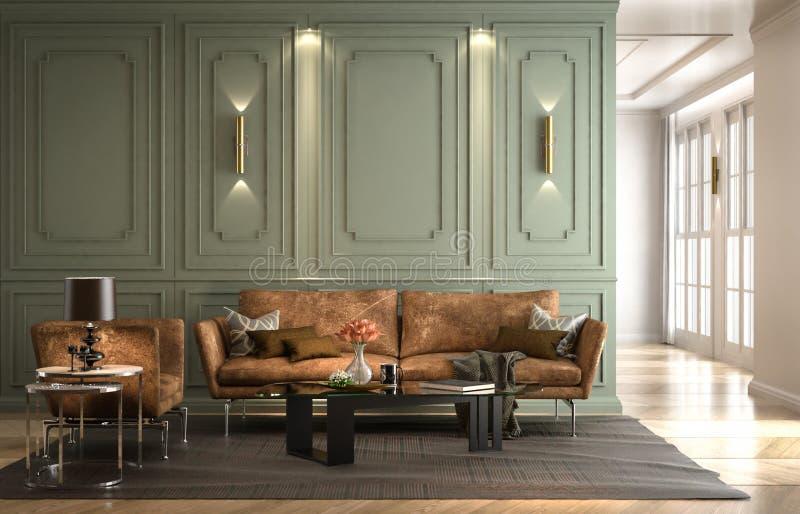 Εσωτερικό καθιστικό, σύγχρονο κλασικό ύφος, με το χαλαρό δέρμα καναπέδων ελεύθερη απεικόνιση δικαιώματος