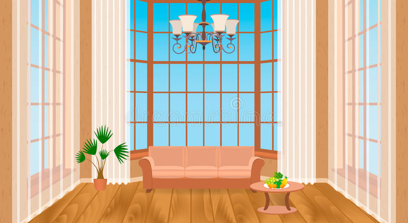 Εσωτερικό καθιστικών με τα μεγάλα παράθυρα Σύγχρονο σχέδιο της ελαφριάς σοφίτας με το ξύλινο δάπεδο, καναπές, πολυέλαιος απεικόνιση αποθεμάτων
