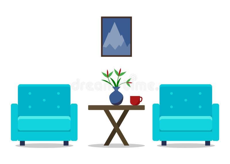 Εσωτερικό καθιστικών με τις πολυθρόνες συρμένο καθορισμένο λευκό απεικόνισης χεριών επίπλων Σχέδιο 'Οικωών Σύγχρονη επίπεδη απεικ διανυσματική απεικόνιση