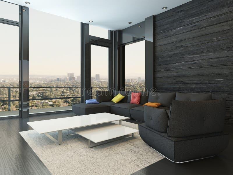 Εσωτερικό καθιστικών με το μαύρο καναπέ με τα χρωματισμένα μαξιλάρια απεικόνιση αποθεμάτων