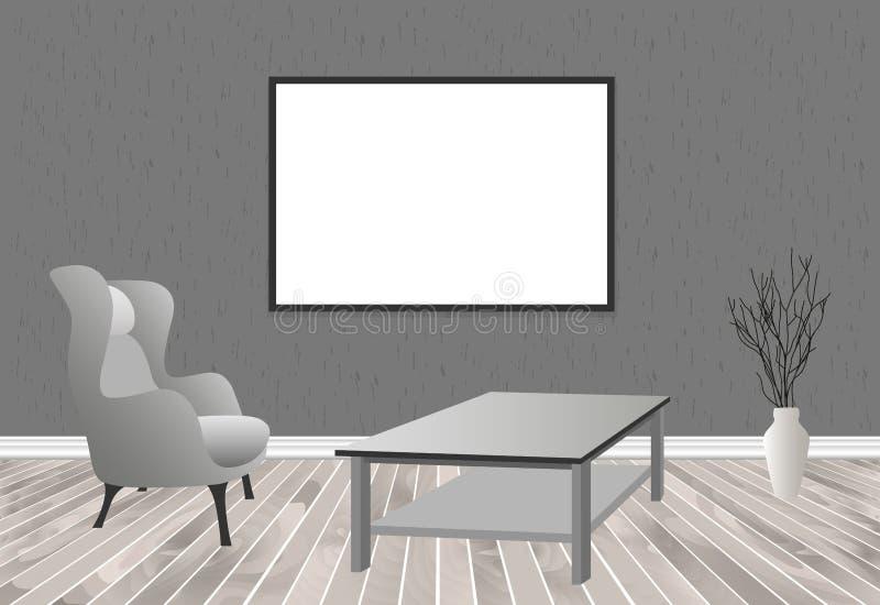 Εσωτερικό καθιστικών προτύπων στο ύφος hipster με το πλαίσιο, τον πίνακα, την πολυθρόνα και το συμπαγή τοίχο Σχέδιο κατοικιών σοφ απεικόνιση αποθεμάτων