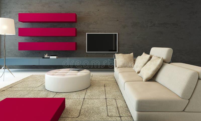 Εσωτερικό καθιστικών Minimalistic με το ρόδινο τοίχο ελεύθερη απεικόνιση δικαιώματος