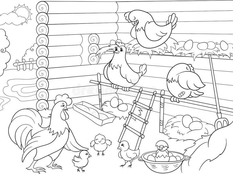 Εσωτερικό και ζωή των πουλιών στο κοτέτσι κοτόπουλου που χρωματίζει για τη διανυσματική απεικόνιση κινούμενων σχεδίων παιδιών ελεύθερη απεικόνιση δικαιώματος