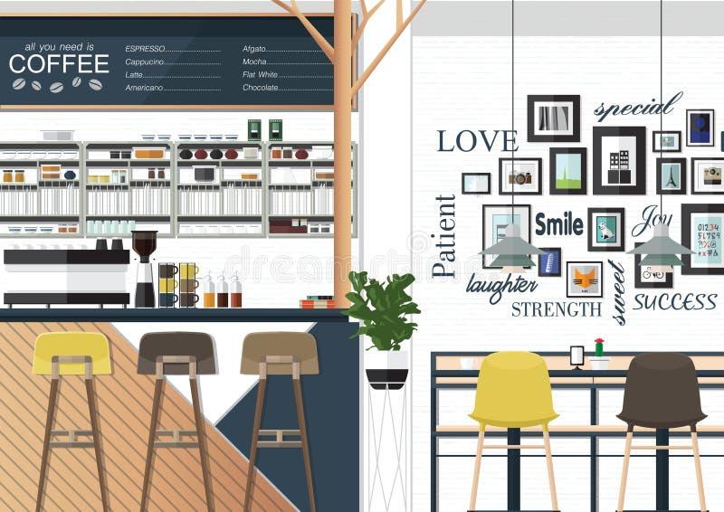Εσωτερικό καφετεριών διανυσματική απεικόνιση