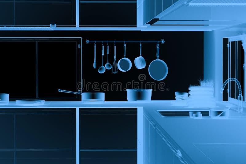 Εσωτερικό κουζινών ακτίνας X στο Μαύρο ελεύθερη απεικόνιση δικαιώματος