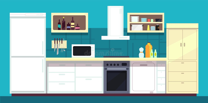 Εσωτερικό κουζινών κινούμενων σχεδίων με το ψυγείο, το φούρνο και άλλη διανυσματική απεικόνιση εγχώριων συσκευών μαγειρέματος διανυσματική απεικόνιση