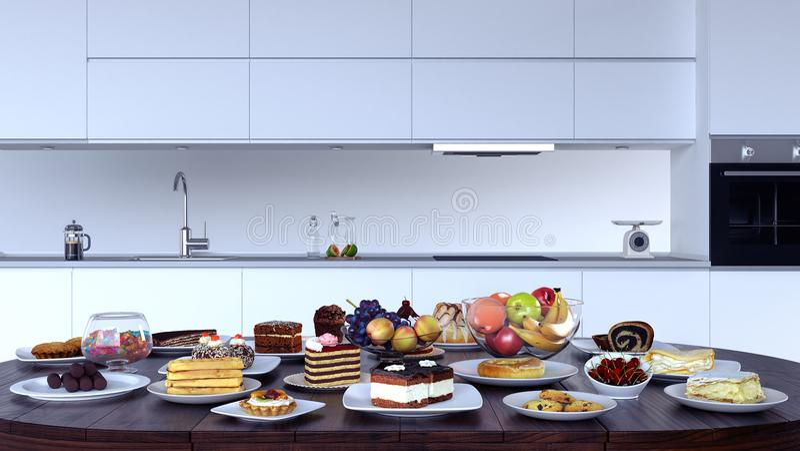 Εσωτερικό κουζινών με ένα επιτραπέζιο σύνολο των τροφίμων απεικόνιση αποθεμάτων