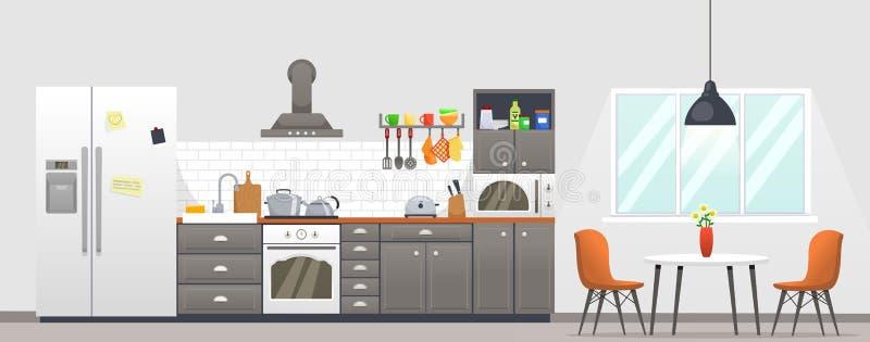 Εσωτερικό κουζινών με τα έπιπλα η αλλοδαπή γάτα κινούμενων σχεδίων δραπετεύει το διάνυσμα στεγών απεικόνισης Εσωτερικό σχέδιο κου διανυσματική απεικόνιση