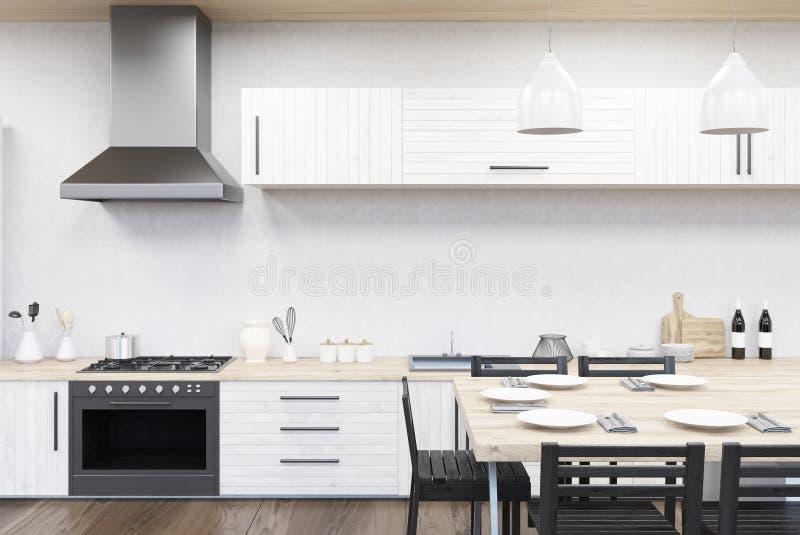 Εσωτερικό κουζινών με τη σόμπα διανυσματική απεικόνιση