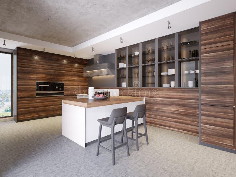 Εσωτερικό κουζινών σύγχρονου σχεδίου στο σύγχρονο ύφος με τις τεχνολογικές συσκευές επίπλων και κουζινών ελεύθερη απεικόνιση δικαιώματος