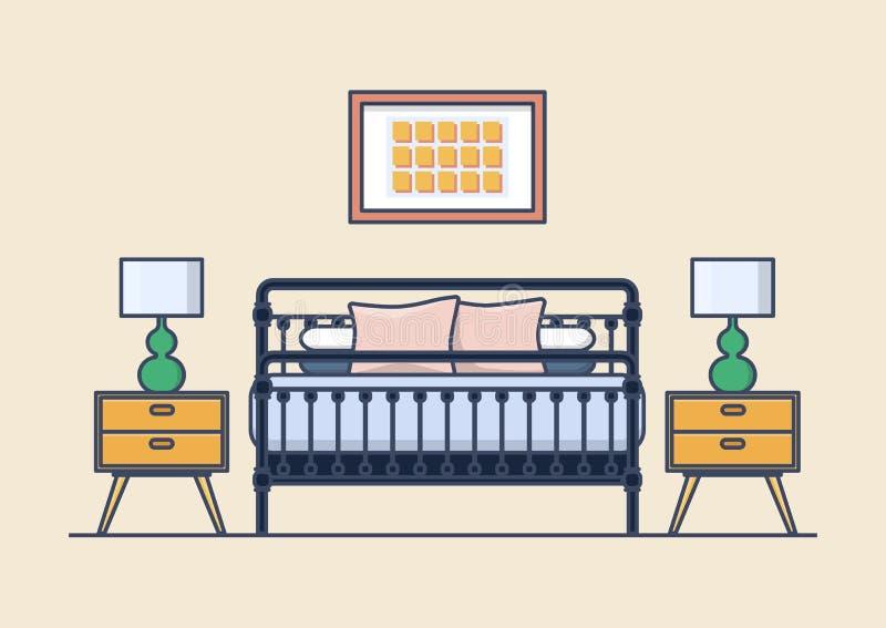 Εσωτερικό κρεβατοκάμαρων με το κρεβάτι και nightstand, λαμπτήρας διανυσματική απεικόνιση